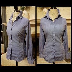 CHICO'S Blue & White Striped Blouse Shirt 1 M